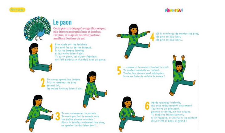 paon, yoga, posture, enfant, naturopathie
